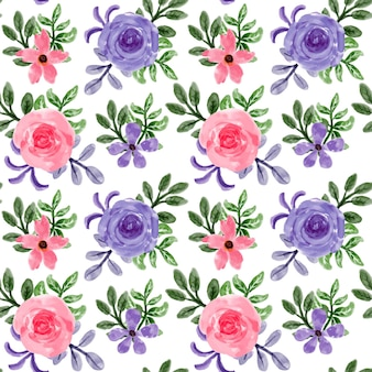 Purple pink floral watercolor seamless pattern