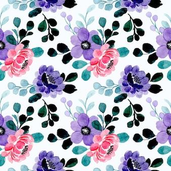 紫ピンク花柄水彩シームレスパターン