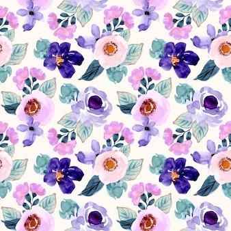 Purple pink flower watercolor seamless pattern