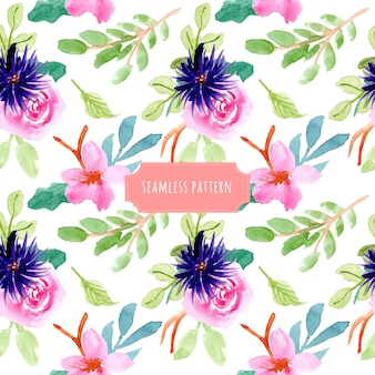 Purple pink green floral watercolor seamless pattern