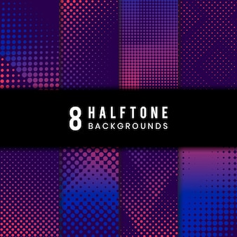 Purple and pink halftone background vector set