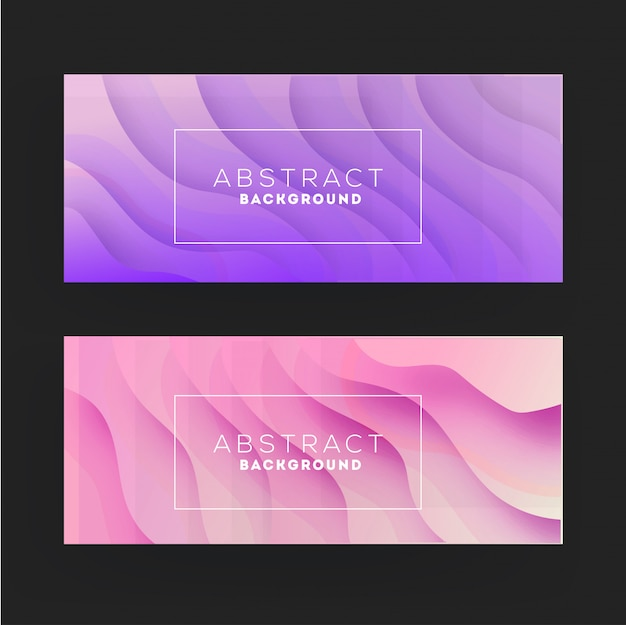 Purple and pink paper cut abstract wavy banner set