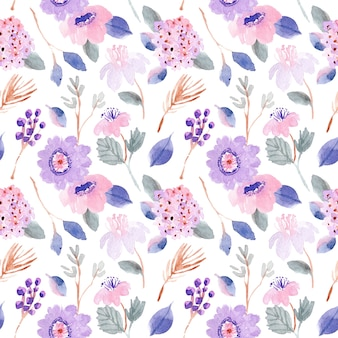 Purple pink pastel floral watercolor seamless pattern