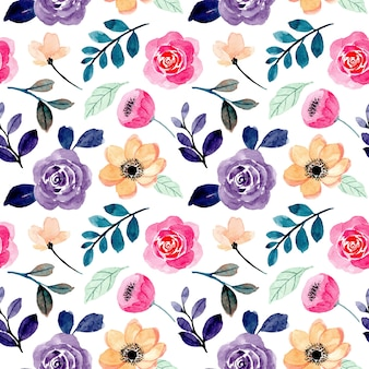 Purple pink peach floral watercolor seamless pattern