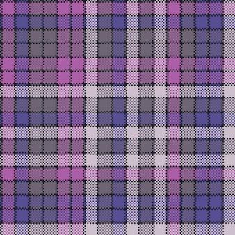 Purple pixel plaid fabric texture seamless pattern
