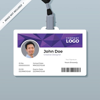 Purple polygon id card template