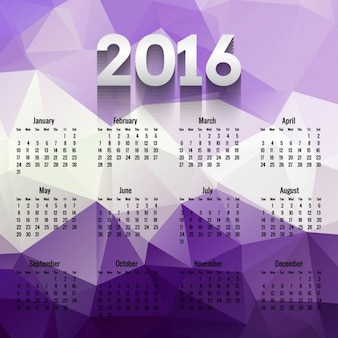 Purple polygonal 2016 calendar