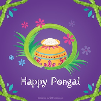 Purple pongal background with rice