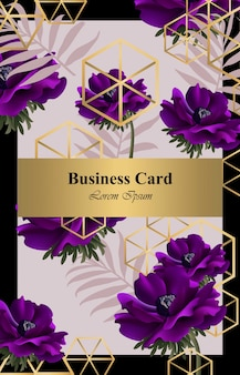 Purple poppy flowers abstract design card vector. background for business card, brand book or poster