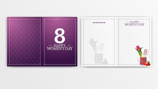 Purple postcard for women's day ready to print