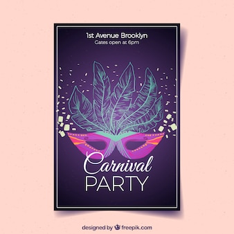 Purple poster template for carnival