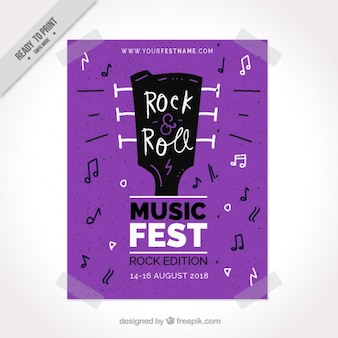 Purple poster template with guitar and musical notes