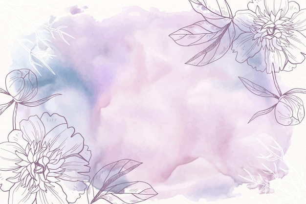 Purple powder pastel with hand drawn flowers background