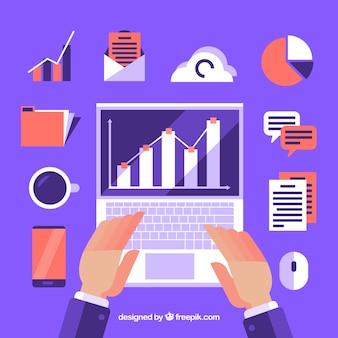 Фиолетовая концепция управления проектами в плоском стиле