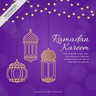 Purple ramadan background with golden decoration
