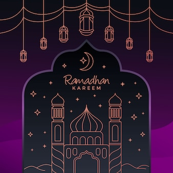 Purple ramadhan kareem background