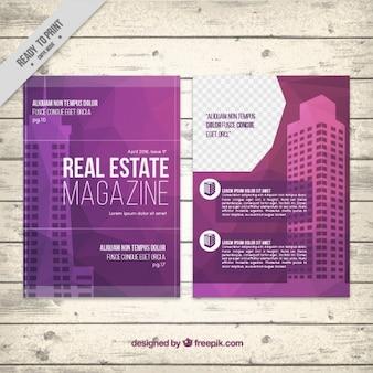 Purple real estate magazine template