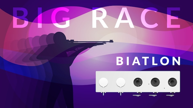 Purple realistic biathlon sport composition with athlete silhouette and big race headline