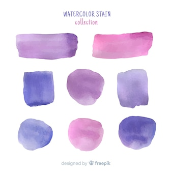 Purple realistic watercolor stain collection