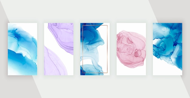 ストーリーの紫、赤、青のアルコールインクソーシャルメディアの背景。