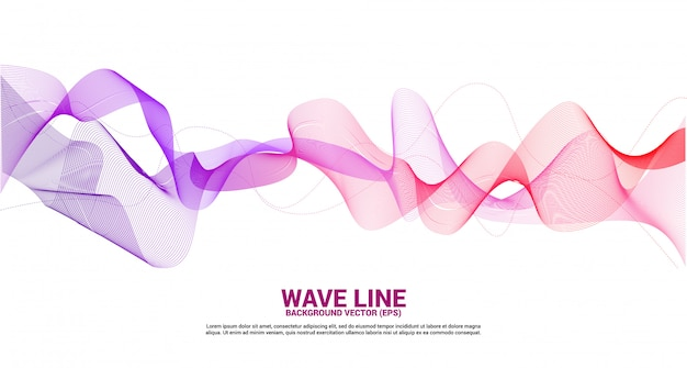Purple red sound wave line curve on white background. element for theme technology futuristic vector