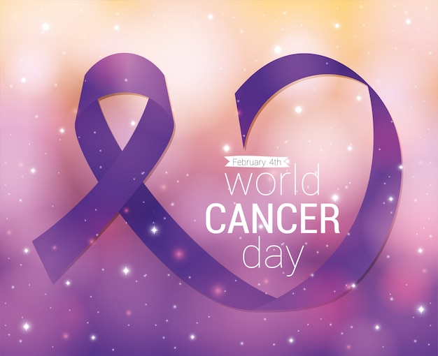 Purple ribbon design, world cancer day february four awareness campaign disease prevention and foundation theme