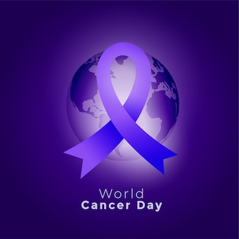 Purple ribbon and earth world cancer day background