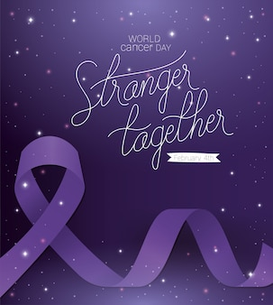Purple ribbon and stranger together text design, world cancer day february four awareness campaign disease prevention and foundation theme