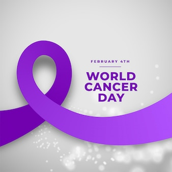 Purple ribbon world cancer day background