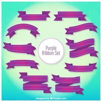 Purple ribbons set