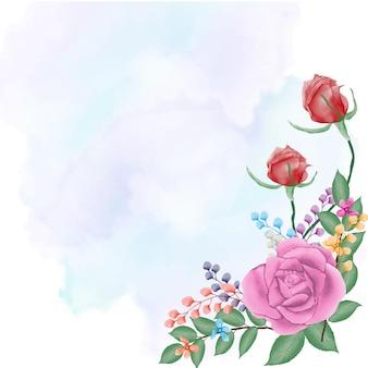 水彩でスプラッシュ背景と紫のバラと赤いバラ