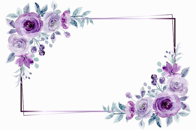 Purple rose flower frame with watercolor