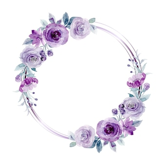 Purple rose flower wreath with watercolor