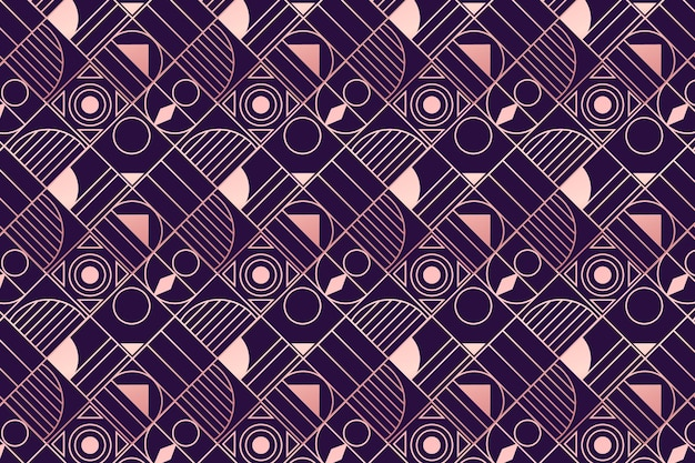 Purple and rose gold art deco pattern