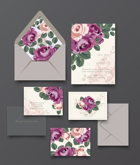 Purple rose invitation card and letter collection template.