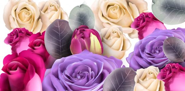 보라색 장미 꽃다발 수채화