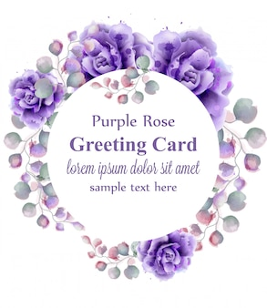 Purple roses watercolor wreath
