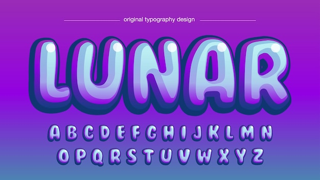 Purple rounded cartoon typography