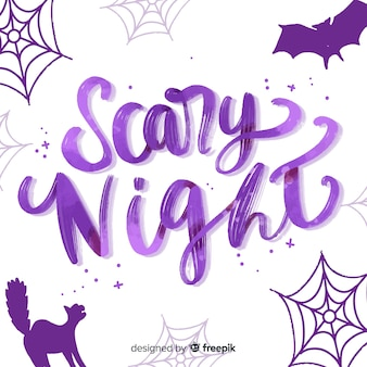 Purple scary night lettering with ornaments