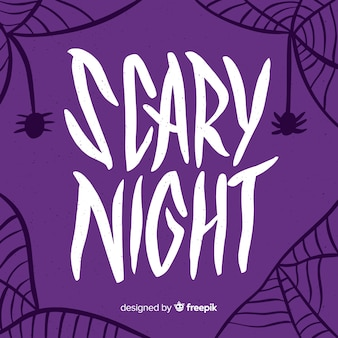 Purple scary night lettering with spiderweb