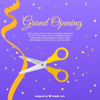 Purple scissors and golden ribbon background