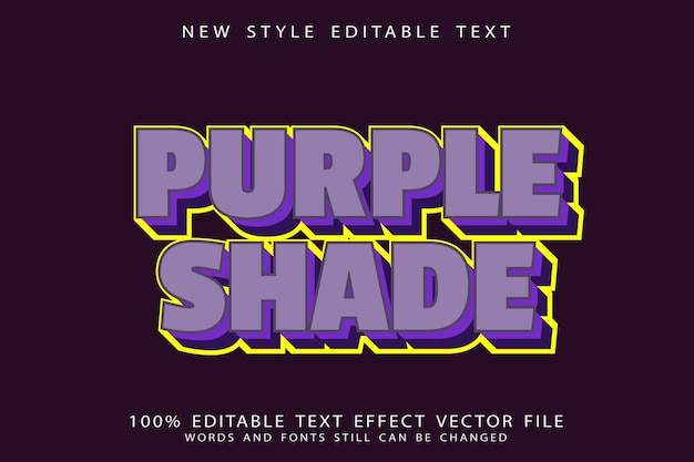 Purple shade editable text effect emboss modern style