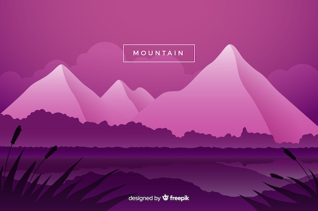 Purple shaded mountains landscape