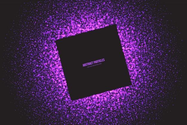 Фиолетовый мерцающий светящиеся частицы квадратная рамка фон