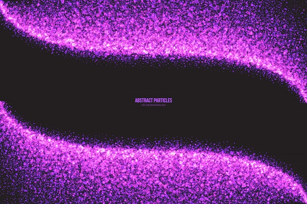 Purple shimmer glowing round particles vector background