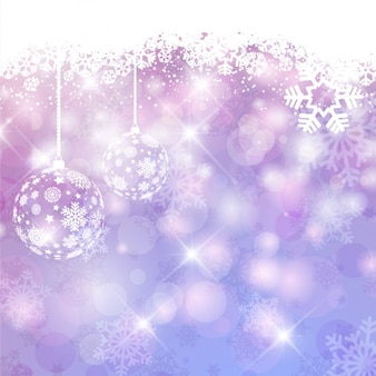 Purple shiny christmas background with baubles
