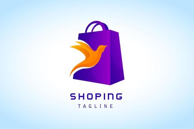 オレンジ色の鳥のグラデーションのロゴが付いた紫色のショッピングバッグ