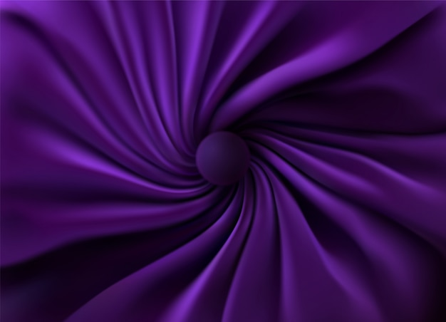 Purple silky fabric. abstract background. 3d illustration. realistic swirled textile with folds and drapes.