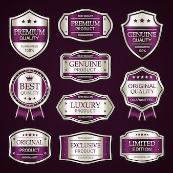 Purple and silver premium vintage badge and labels collection