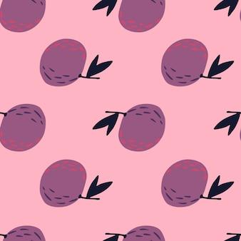 Фиолетовый простой мандарин орнамент бесшовные каракули шаблон